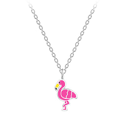 Wholesale Sterling Silver Flamingo Necklace - JD7214