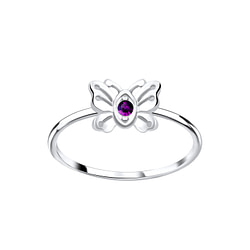 Wholesale Sterling Silver Butterfly Crystal Ring - JD5636