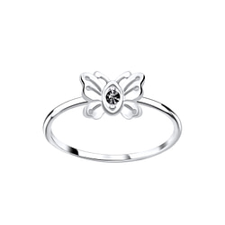 Wholesale Sterling Silver Butterfly Crystal Ring - JD5642