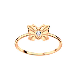 Wholesale Sterling Silver Butterfly Crystal Ring - JD5780