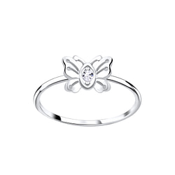 Wholesale Sterling Silver Butterfly Crystal Ring - JD5644