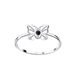 Wholesale Sterling Silver Butterfly Crystal Ring - JD5639