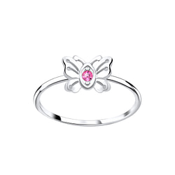Wholesale Sterling Silver Butterfly Crystal Ring - JD5645