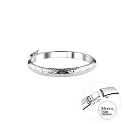 Wholesale 5mm Sterling Silver Children's Bangle with Diamond Cut - JD9992