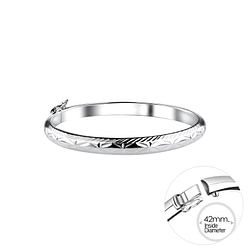 Wholesale 5mm Sterling Silver Children's Bangle with Diamond Cut - JD9993