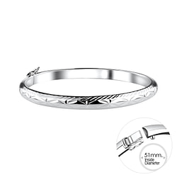 Wholesale 5mm Sterling Silver Bangle with Diamond Cut - JD9994