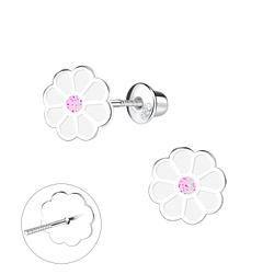 Wholesale Sterling Silver Flower Screw Back Ear Studs - JD9375