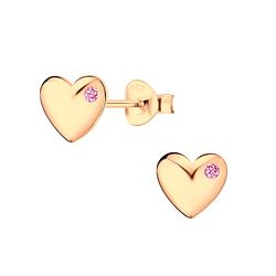 Wholesale Sterling Silver Cubic Zirconia Heart Ear Studs - JD5218
