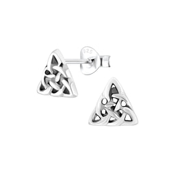 Wholesale Sterling Silver Celtic Triangle Ear Studs - JD1221