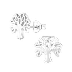 Wholesale Sterling Silver Celtic Tree Ear Studs - JD1225