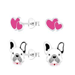 Wholesale Sterling Silver Dog Lovers Ear Studs Set - JD8671