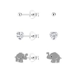 Wholesale Sterling Silver Elephant Ear Studs Set - JD10027