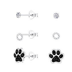Wholesale Sterling Silver Mixed Ear Studs Set - JD10028
