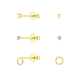 Wholesale Sterling Silver Gold Mixed Ear Studs Set - JD10029