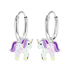Wholesale Sterling Silver Unicorn Charm Ear Hoops - JD9694