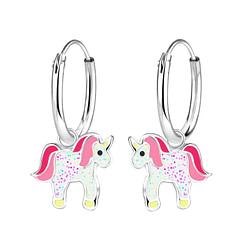 Wholesale Sterling Silver Unicorn Charm Ear Hoops - JD9695