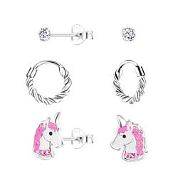 Wholesale Sterling Silver Unicorn Earrings Set - JD10024