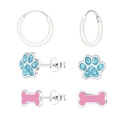 Wholesale Sterling Silver Dog Lovers Ear Studs Set - JD10020