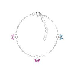 Wholesale Sterling Silver Butterfly Crystal Bracelet - JD9962