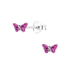 Wholesale Sterling Silver Butterfly Crystal Ear Studs - JD9939
