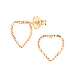 Wholesale Sterling Silver Heart Twist Ear Studs - JD6467