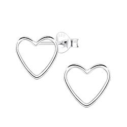 Wholesale Sterling Silver Heart Ear Studs - JD4968