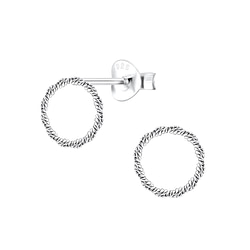 Wholesale Sterling Silver Twist Circle Ear Studs - JD8948