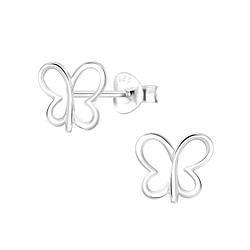 Wholesale Sterling Silver Butterfly Ear Studs - JD9492
