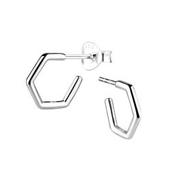 Wholesale Sterling Silver Half Hoop Ear Studs - JD8925