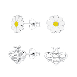 Wholesale Sterling Silver Flower and Bee Ear Studs Set - JD10038