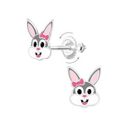 Wholesale Sterling Silver Bunny Screw Back Ear Studs - JD9362