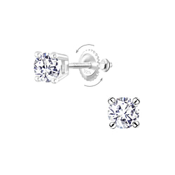Wholesale 5mm Round Cubic Zirconia Sterling Silver Screw Back Ear Studs - JD10191
