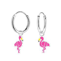 Wholesale Sterling Silver Flamingo Charm Ear Hoops - JD8266