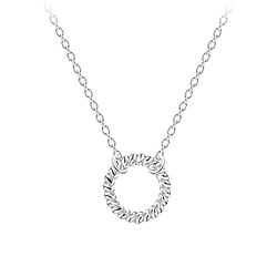 Wholesale Sterling Silver Twisted Circle Necklace - JD9175