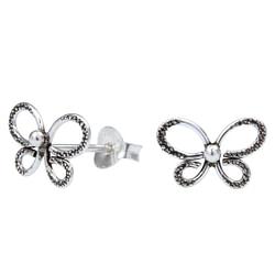 Wholesale Sterling Silver Butterfly Ear Studs - JD1026