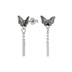 Wholesale Sterling Silver Butterfly Ear Studs with Hanging Chain - JD1252