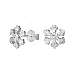 Wholesale Sterling Silver Snowflake Cubic Zirconia Ear Studs - JD1277