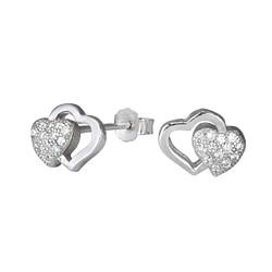 Wholesale Sterling Silver Double Heart Cubic Zirconia Ear Studs - JD1278