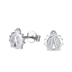 Wholesale Sterling Silver Ladybug Cubic Zirconia Ear Studs - JD1282