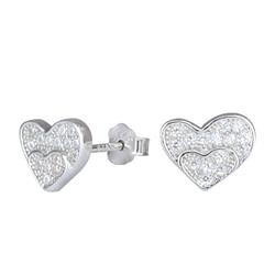 Wholesale Sterling Silver Heart Cubic Zirconia Ear Studs - JD1286
