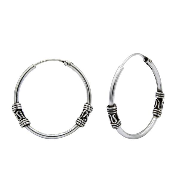 Wholesale 20mm Sterling Silver Bali Hoops - JD1488