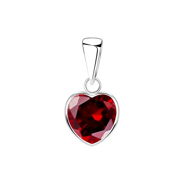 Wholesale 8mm Heart Cubic Zirconia Sterling Silver Pendant - JD2087
