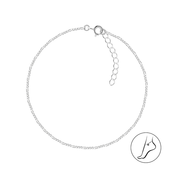 Wholesale 25cm Sterling Silver Figaro Anklet With Extension - JD9221