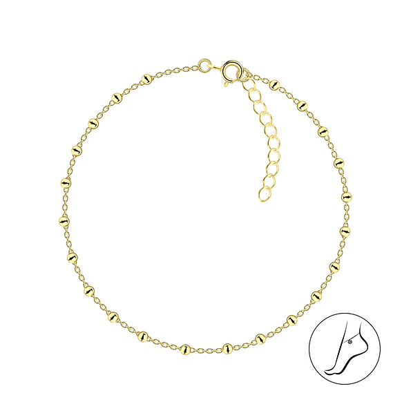 Wholesale 26cm Sterling Silver Satellite Anklet With Extension - JD4620